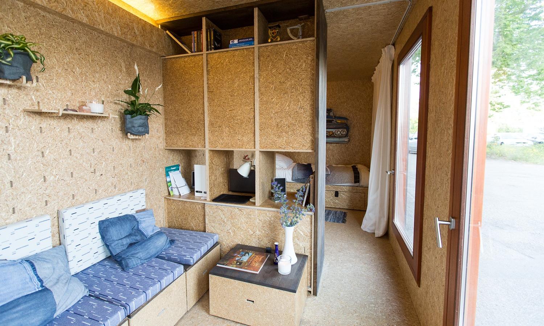 Triple Solar PVT paneel Tiny house Sustainer interieur